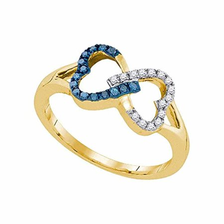 Roy Rose Jewelry 10K Yellow Gold Womens Round Blue Color Enhanced Diamond Heart Love Ring 1/6-Carat tw 10k Gold Love Ring