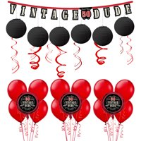 Vintage Dude 50th Birthday Decorating Kit with Balloons, 37 Pieces