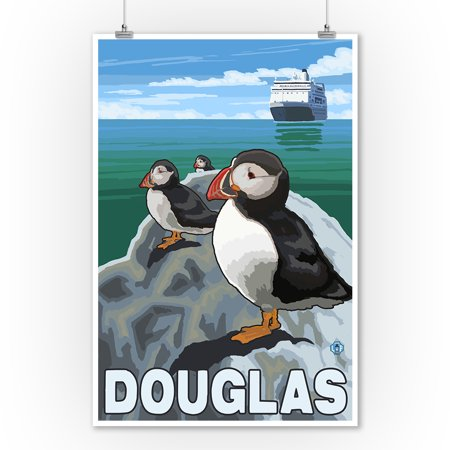 Puffins & Cruise Ship - Douglas, Alaska - LP Original Poster (9x12 Art Print, Wall Decor Travel