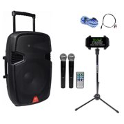 "Rockville Bluetooth 15"" Rechargable iPad/iPhone/Laptop/Tablet Pro Karaoke System"