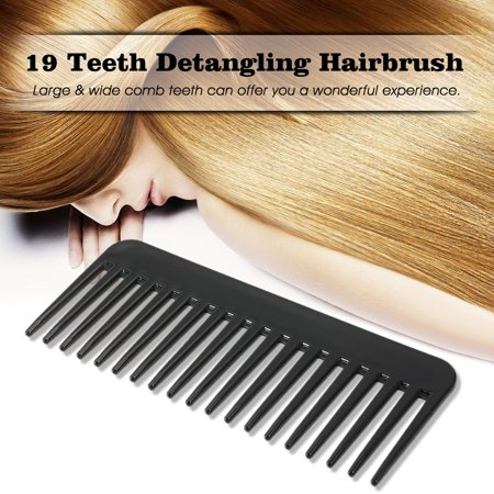 19 dents dent large peigne démêlant Hairbrush résistant à la chaleur Grande Scalp anti-statique Massage ABS coiffure Peigne Noir - image 2 of 4