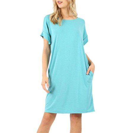 Womens Casual Rolled Short Sleeve Loose Tunic Shirt Dress - Tootsie Roll Dress