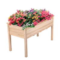 Topeakmart Solid Wood Rectangle Elevated Planter Raised Garden Bed Grow Plants Gardening Natural Wood