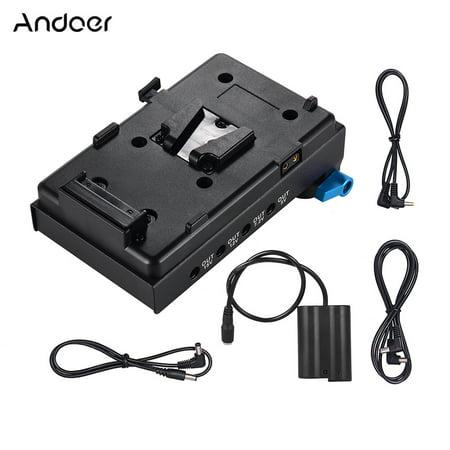 Andoer V Mount V-lock Battery Plate Adapter with 15mm Dual Hole Rod Clamp EN-EL15