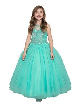 fe0496fc42f6 Product Image Girls Aqua Mint Bejeweled Bodice Open Back Pageant Ball Dress