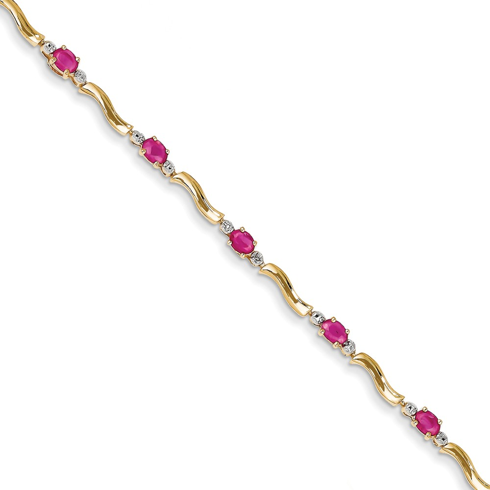 """14K Yellow Gold (0.01cttw) Diamond and Composite Ruby Bracelet -7"""" (7in x 4mm) by"""