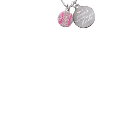 Silvertone Small Sparkle Pink AB Softball Not All Angels Have Wings Some Wear Scrubs Engraved Necklace