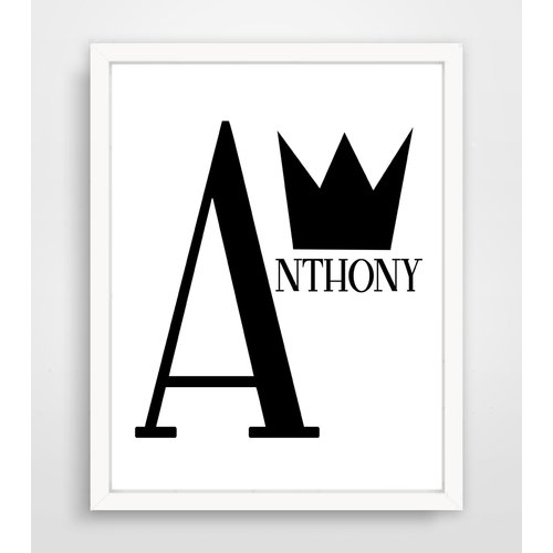 Finny and Zook Personalized Crown Name Framed Paper Print