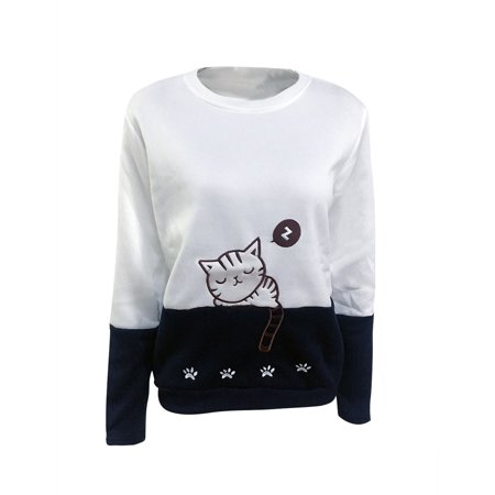 - DBoard Women Cat Embroidered  Sweatshirt Long Sleeve Color Block Casual Tops Blouse