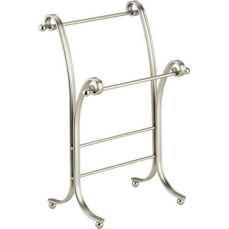 InterDesign York Lyra Metal Towel Holder Stand for Bathroom Vanities, Satin (Towel Holder Stand)