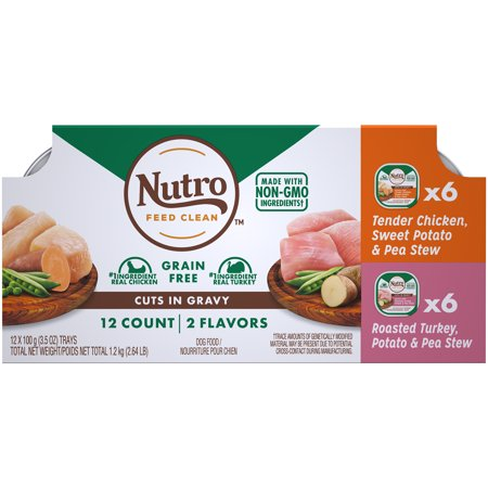 NUTRO Grain Free Wet Dog Food Cuts in Gravy Variety Pack Tender Chicken, Sweet Potato & Pea Stew, Roasted Turkey, Potato & Pea Stew, (12) 3.5 oz. Trays ()