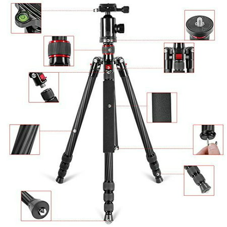 Neewer Lightweight Portable 66 /168cm Carbon Fiber Camera Tripod Monopod with 360 Degree Ball Head and Bubble Level, (Best Budget Carbon Fiber Tripod)