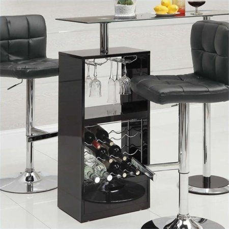 - Bowery Hill Contemporary Glass Top Pub Table in Black