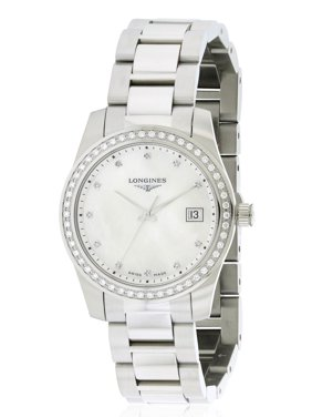 Longines Conquest Steel Mother of Pearl Dial Diamond Womens Watch Date L34000876