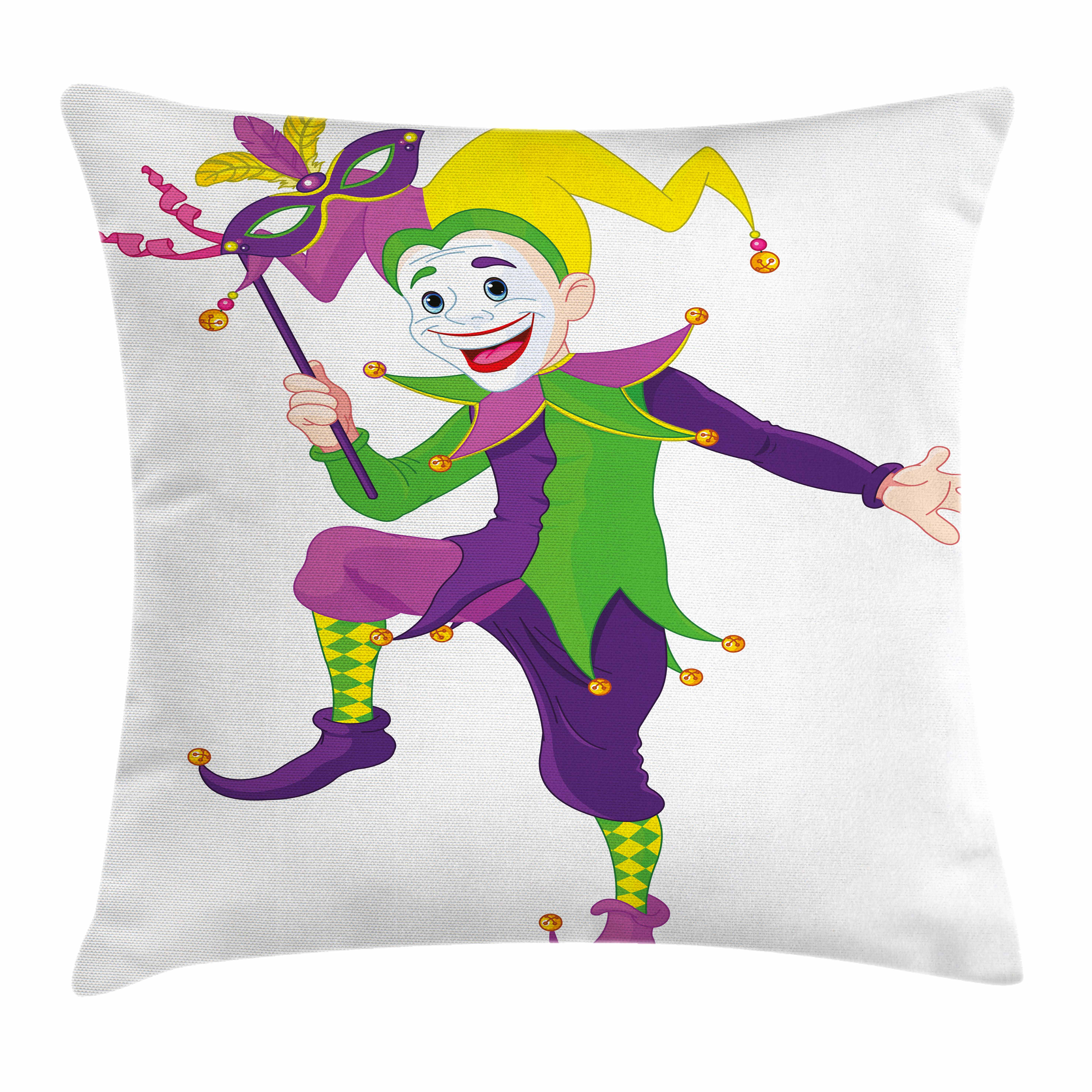 Mardi Gras Throw Pillow Cushion Cover, Cartoon Style Jester in Iconic Costume with Mask Happy Dancing Party Figure, Decorative Square Accent Pillow Case, 18 X 18 Inches, Multicolor, by Ambesonne