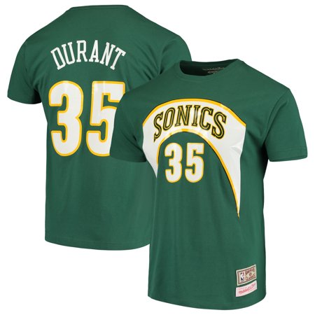 low priced 291d0 36cc9 Kevin Durant Seattle SuperSonics Mitchell & Ness Hardwood Classics Team  Name & Number T-Shirt - Green - Walmart.com
