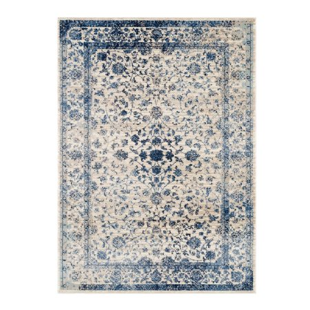 Ladole Rugs Anatolia Collection Comfortable Traditional Style Soft Area Rug Carpet in Ivory and Blue, 2x3 (2' x 3'3
