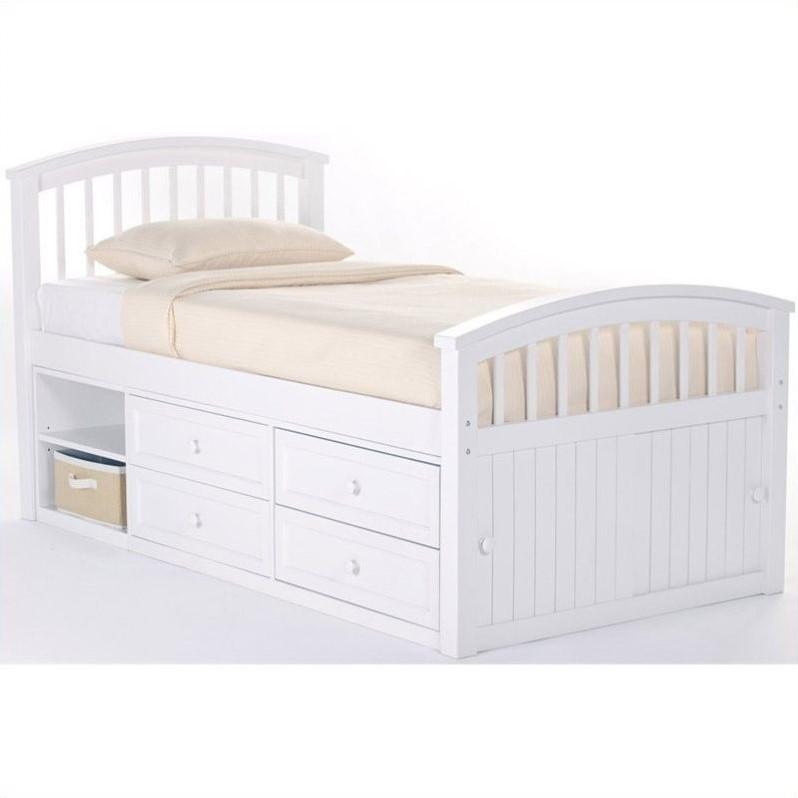 ne kids school house captain bed in white - Captain Bed