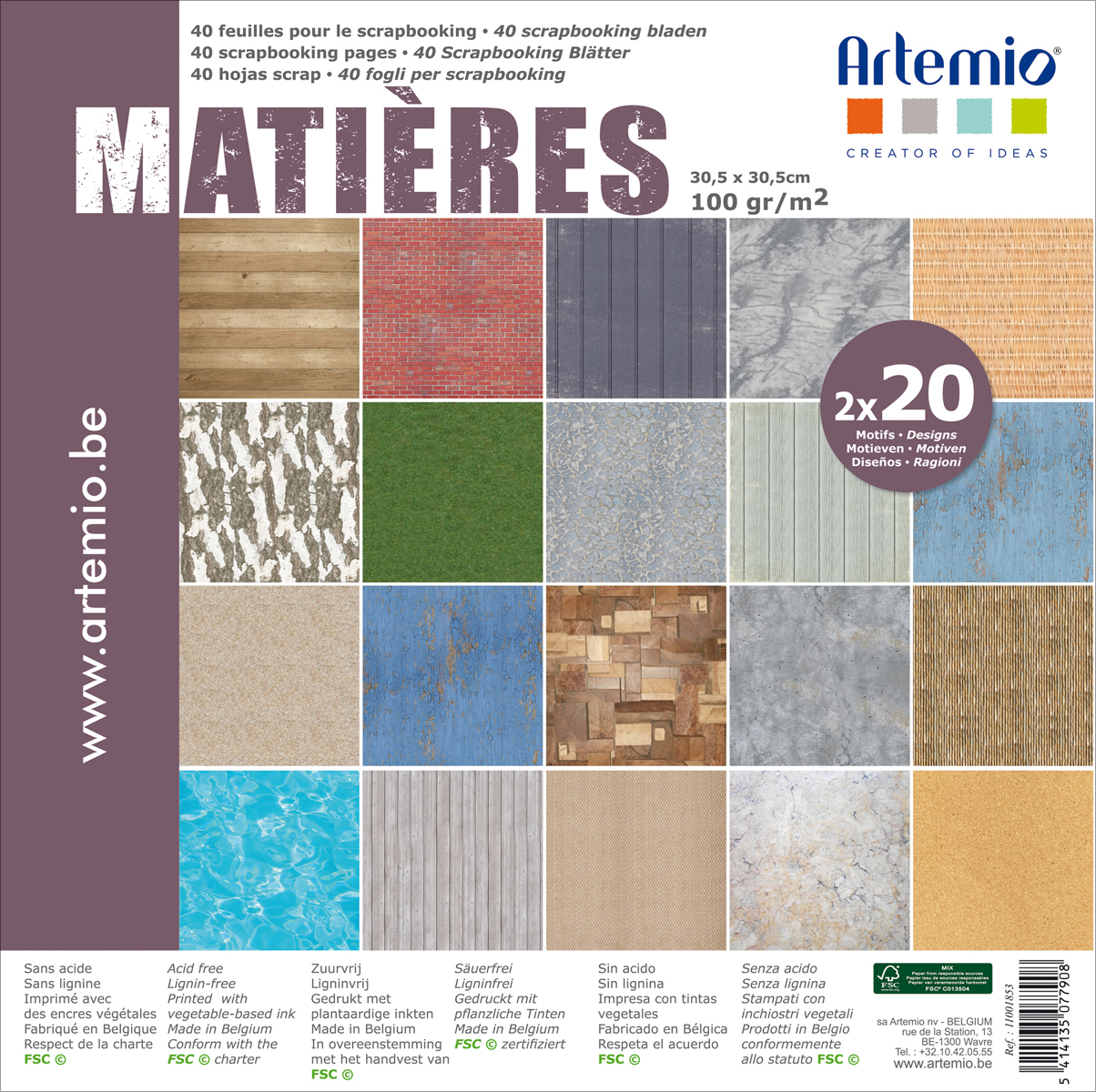 "Artemio Matieres Papers 12""X12"" 40/Pkg-2 Each Of 20 Designs"