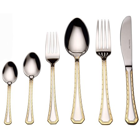 Venezia Collection 75 Piece Fine Flatware Set Silverware Cutlery Dining Service For 12 Premium 18 10 Surgical Stainless Steel 24k Gold Plated
