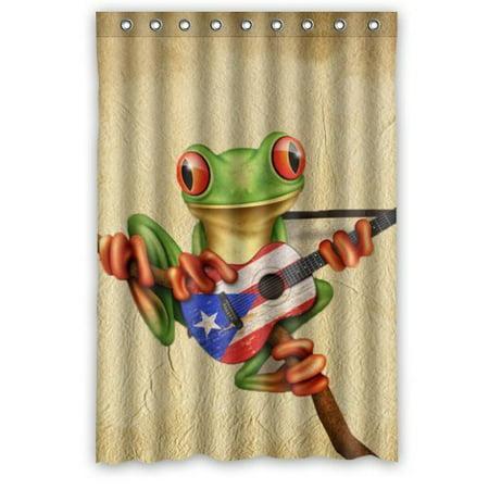 Greendecor Tree Frog Playing Puerto Rico Flag Guitar