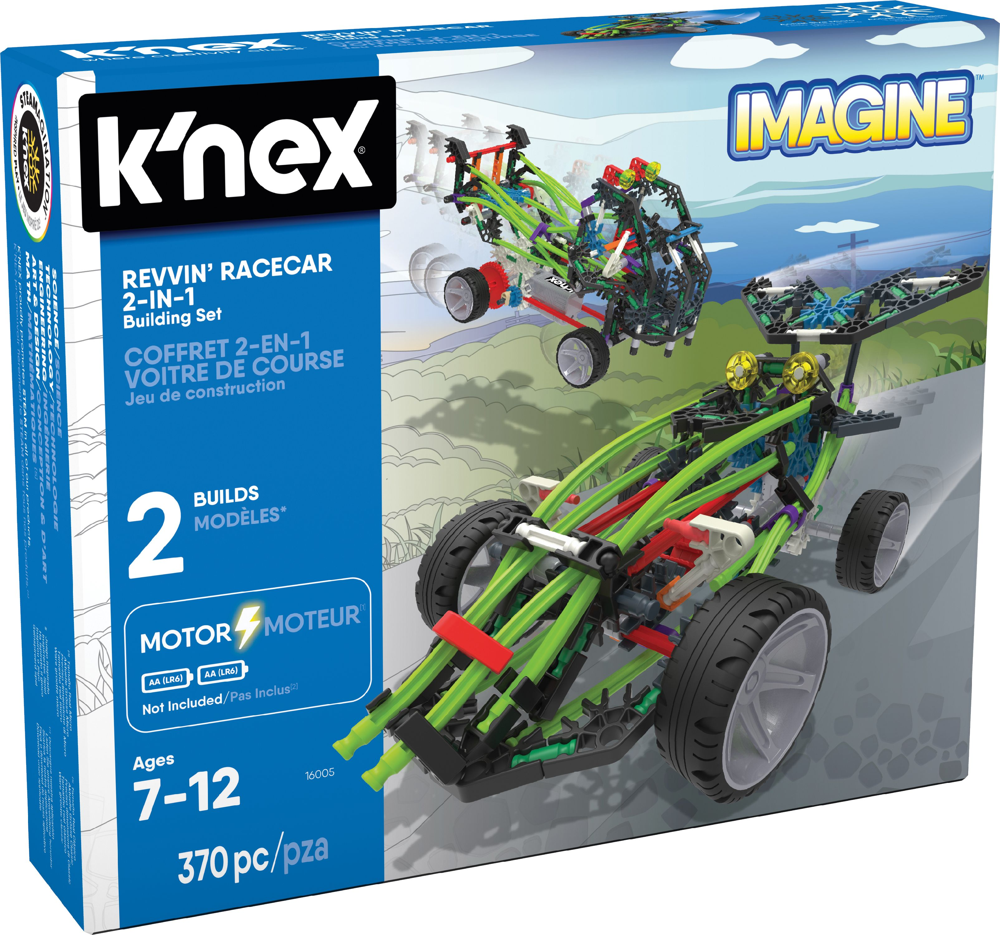 K'NEX Imagine - Revvin' Racecar 2-in-1 Building Set - 370 Pieces - Ages 7 - Engineering Educational Toy