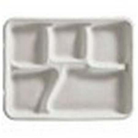 Huhtamaki 21040 5-Compartment Round Tray & Cafeteria, White - image 1 of 1