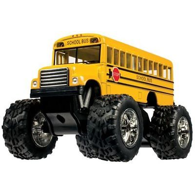 "5"" Kinsfun Yellow School Bus Big Wheel Monster Truck Diecast Model Toy (New, No Retail Box)"