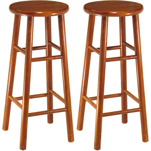 Wood Beveled Seat Bar Stool 30 Quot Set Of 2 Cherry