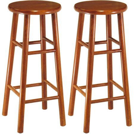 Wood Beveled Seat  Bar Stool  30   Set Of 2  Cherry