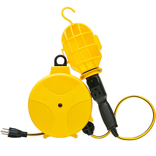 Designers Edge Retractable Cord Reel with Handheld Work Lights, 20-Foot