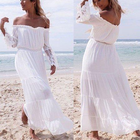33d8e4f24d2 Phoebecat - Off Shoulder Long Sleeve Maxi Dress for Women