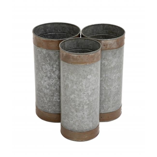Benzara 27536 Attractive Styled Metal Galvanized Planter