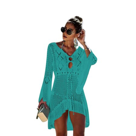 Women Bikini Cover Up Hollow Crochet Beach wear Dress Summer Bathing Suit Blouse for $<!---->