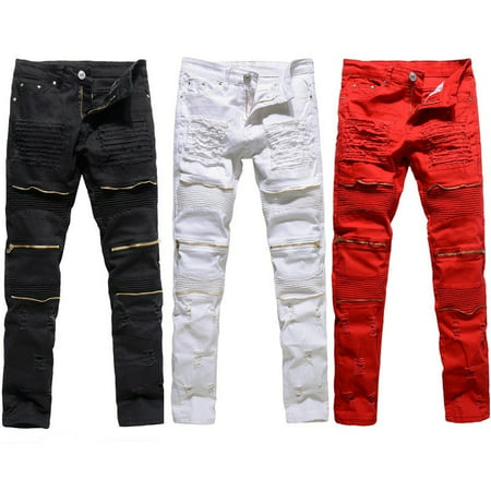 Fashion Classic Mens Slim Fit Straight Biker Jeans Trousers Casual Pants Lot