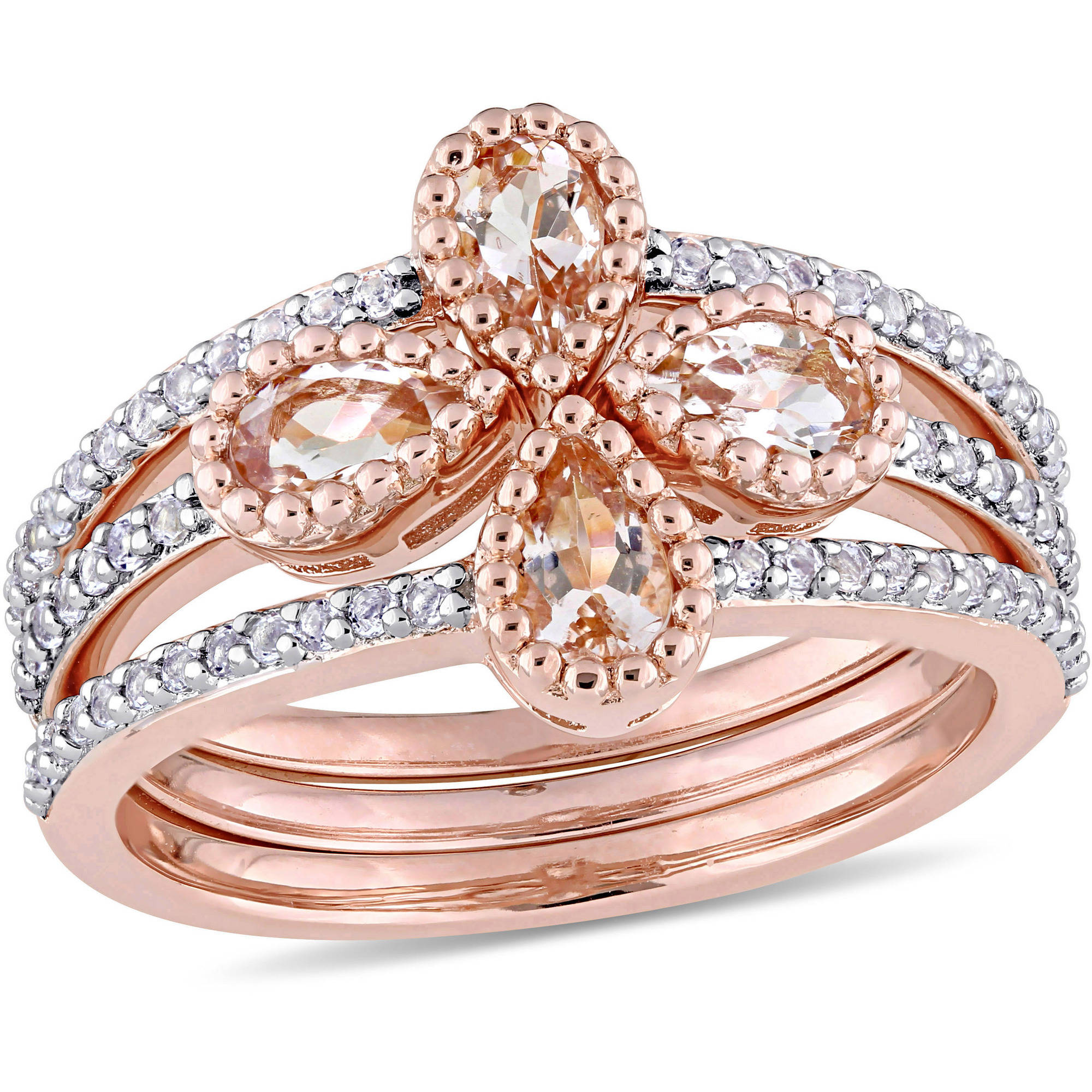 Tangelo 1-1 3 Carat T.G.W. Pear-Cut Morganite and White Topaz Rose Rhodium-Plated Sterling Silver Floral Three-Piece... by Tangelo