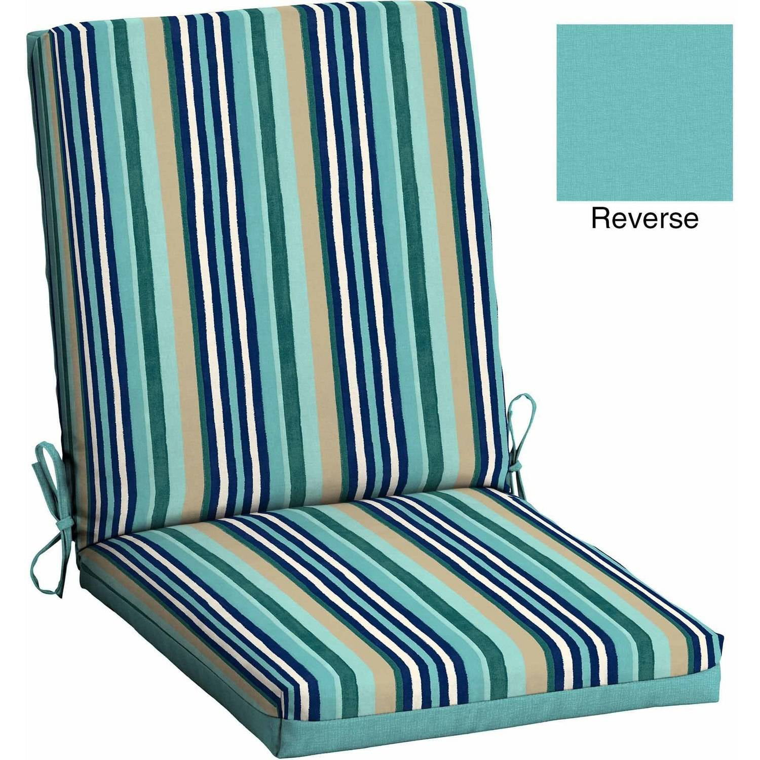 Mainstays Outdoor Patio Reversible Dining Chair Cushion  Turquoise StripeOutdoor Chair Cushions. Royal Blue Outdoor Seat Cushions. Home Design Ideas