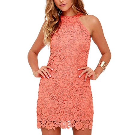 Women's Casual Sleeveless Halter Neck Party Lace Mini Dress (Halter Neck)