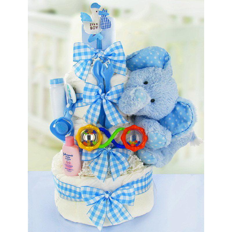 Gingham ; Giggles Three Tier Diaper Cake - Boy