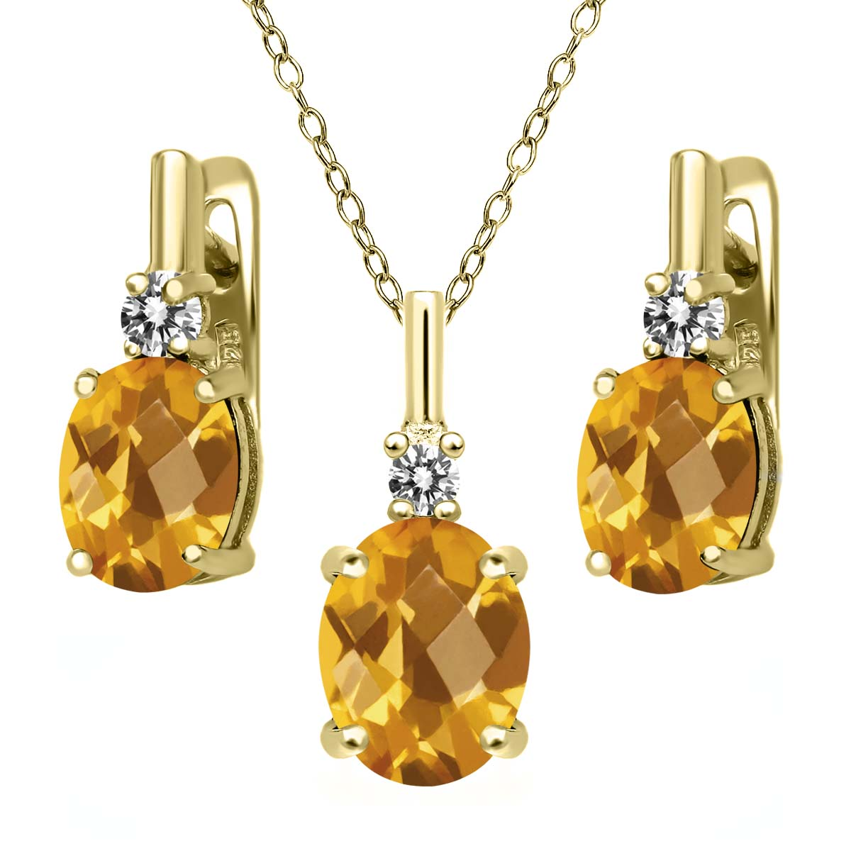 4.87 Ct Oval Checkerboard Yellow Citrine White Diamond 18K Yellow Gold Plated Silver Pendant Earrings Set by