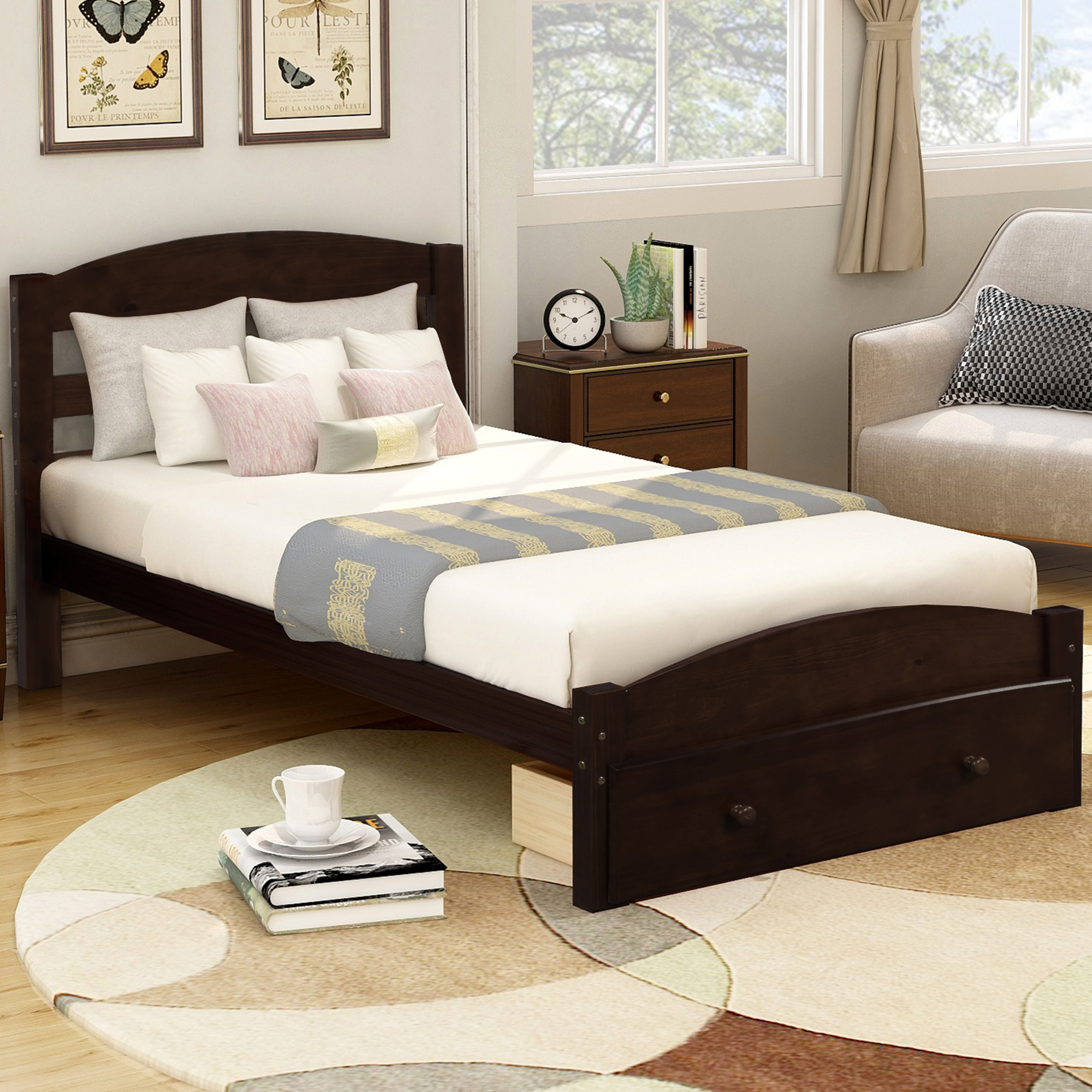 Image of: Urhomepro Twin Bed Platform Bed Frame With Storage Drawer Stable Pine Wood Bed Frame With Wood Slats Support Modern Bed Frame With Headboard Holds 275 Lb No Box Spring Needed Espresso Q6243