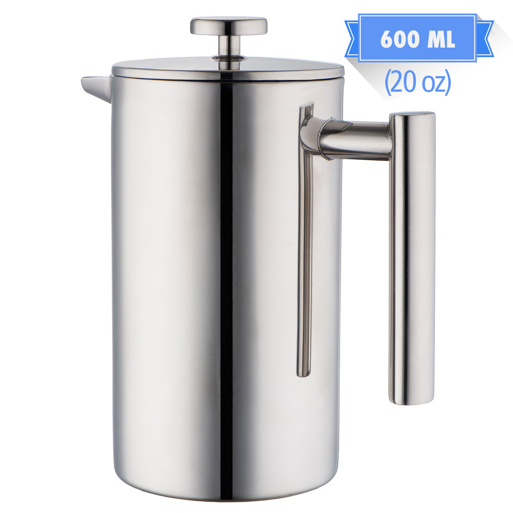 MIRA 20 oz All Stainless Steel French Press For Coffee or Tea | Double