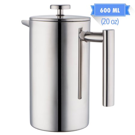 MIRA 20 oz All Stainless Steel French Press For Coffee or Tea | Double Wall Insulated Coffee Pot & Maker Keeps Brewed Coffee or Tea Warm for Hours | 600 ml (5 Coffee