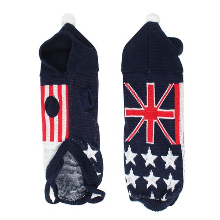 Dog Accessories Uk - Unique Bargains Pet Dog Puppy Navy Blue Red Knitted UK Flag Print  Sleeves Sweater Costume S