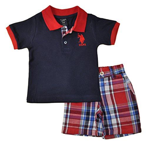 US Polo Assn Little Boys Navy Blue & Red Polo 2pc Plaid Short Set (4)