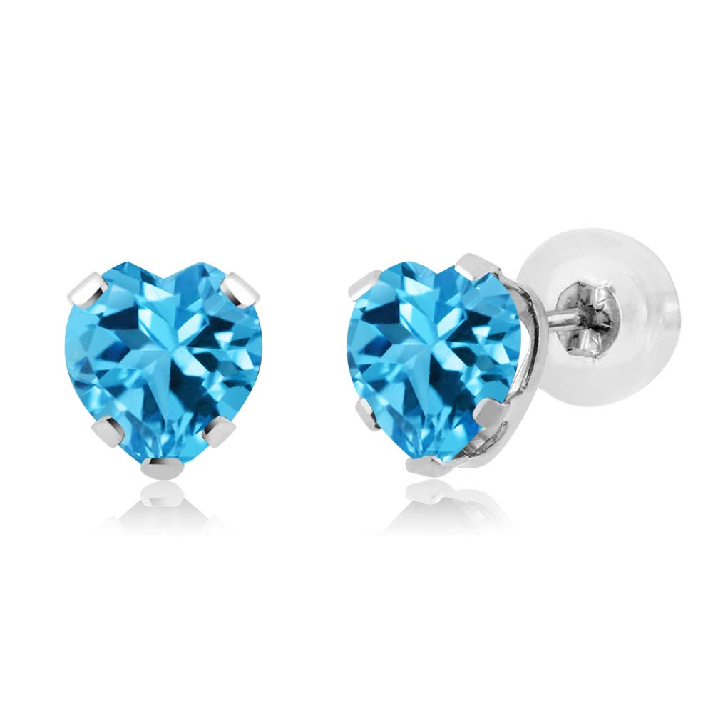 1.12 Ct Heart Shape Swiss Blue Topaz 14K White Gold 5-prong Stud Earrings 5mm