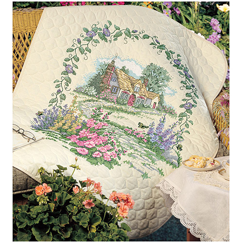 "Dimensions ""Hollyhock Cottage"" Stamped Cross Stitch Quilt Kit, 34"" x 43"""
