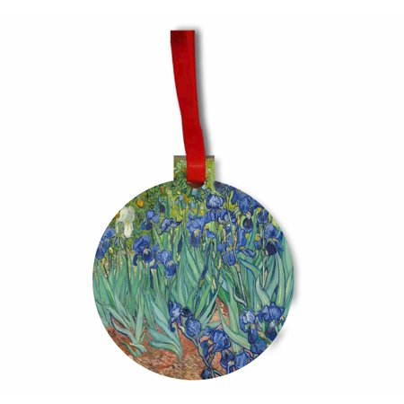 Artist Vincent Van Gogh's Irises Flat Round Shaped Hardboard Hanging Christmas Holiday Tree Ornament Made in the U.S.A. (Iris Christmas Ornament)