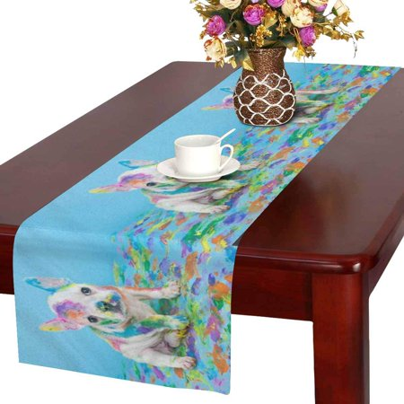 MKHERT Silly little French Bulldog Table Runner Home Decor for Home Kitchen Wedding Party Banquet Decoration 16x72 Inch - French Table Decorations
