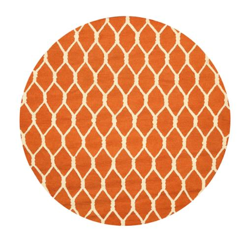 EORC Hand-tufted Wool Orange Transitional Geometric Chain-Link Rug (6' Round)